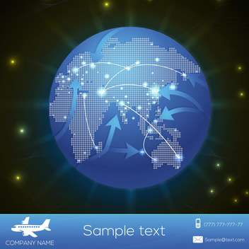 Vector airplane flight paths over earth globe - vector gratuit #131207