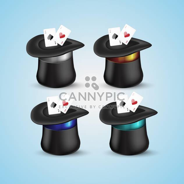 Magic hat with playing cards icons - Free vector #131327