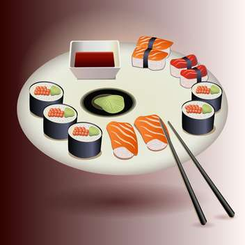 Vector sushi plate set vector illustration - vector #131337 gratis