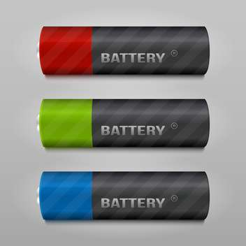 Battery vector set on grey background - vector #131397 gratis