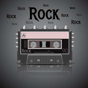Rock vintage cassette on dark background - vector gratuit #131587