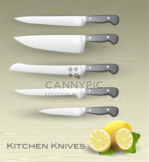 Vector set of kitchen knives - Free vector #131707