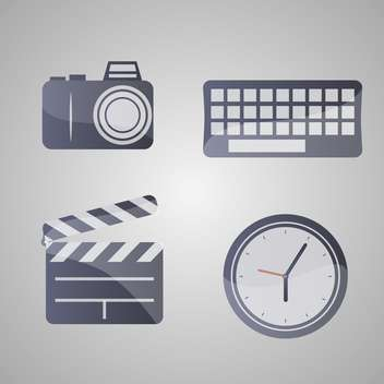 Different vector icons set on grey background - vector gratuit #131797