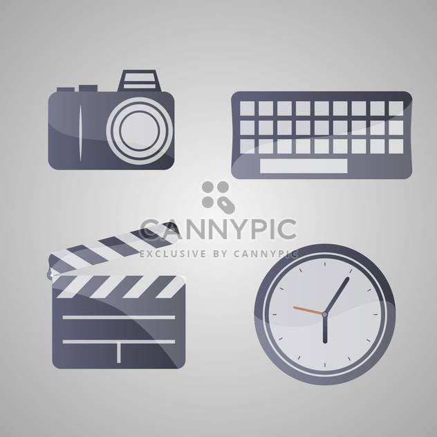 Different vector icons set on grey background - Free vector #131797