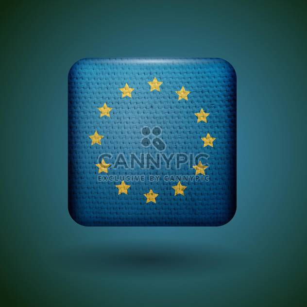 European union flag with fabric texture vector icon - Free vector #131807