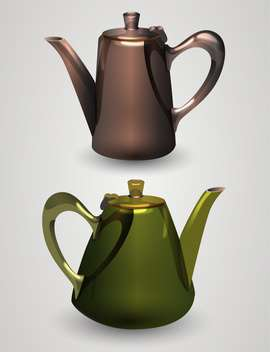 Vector illustration of kettles on white background - vector gratuit #131827