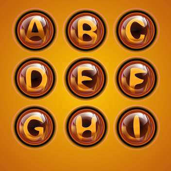 Letters of latin alphabet in round buttons - Free vector #131887