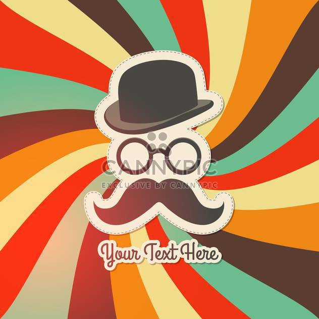 Vintage background with bowler, mustaches and glasses. - Free vector #131947