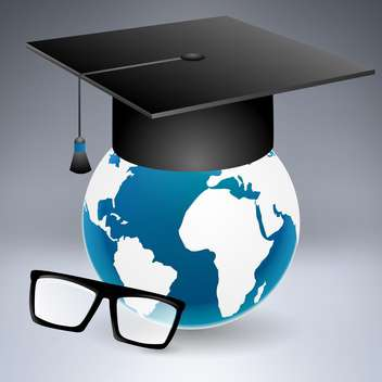 Graduation cap put on the globe with glasses - vector gratuit #132037