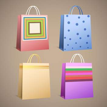 Vector illustration of different paper bags on brown background - Free vector #132107