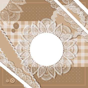 Vector set of brown vintage frames with lace - vector gratuit #132157