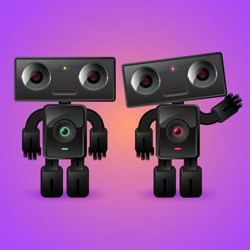 Two cartoon robots : man and woman on violet background - vector gratuit #132197