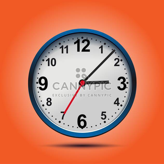 Wall mechanical clock on orange background ,vector illustration - Free vector #132277