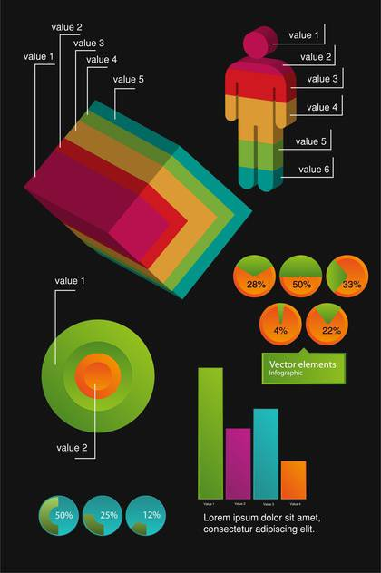 Business infographic elements on black background - Free vector #132417