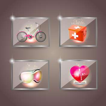 Set of icons of sport and health vector illustration - Free vector #132457
