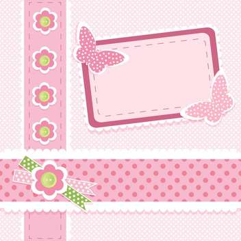 Pink vector floral background with place for text - vector gratuit #132477