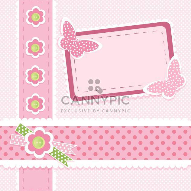 Pink vector floral background with place for text - Free vector #132477