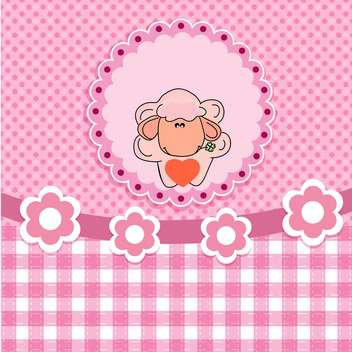 greeting card background with vector sheep - vector gratuit #132497