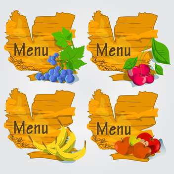 set of fruits with menu background - vector gratuit #132607