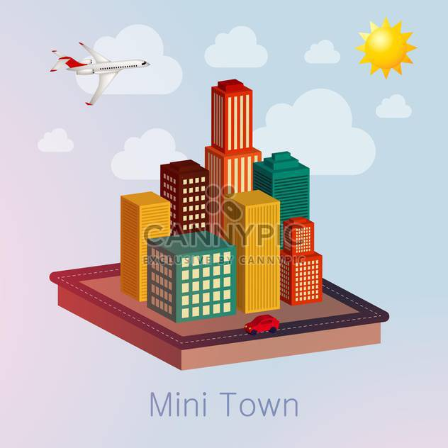 town mockup with plane illustration - Free vector #132637