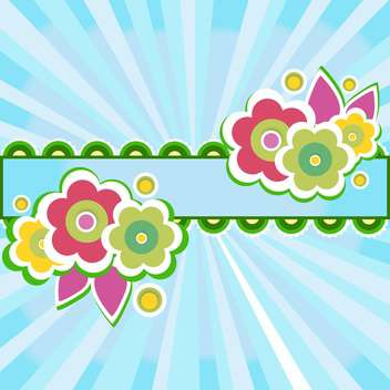 frame with flowers on blue background - vector gratuit #132817
