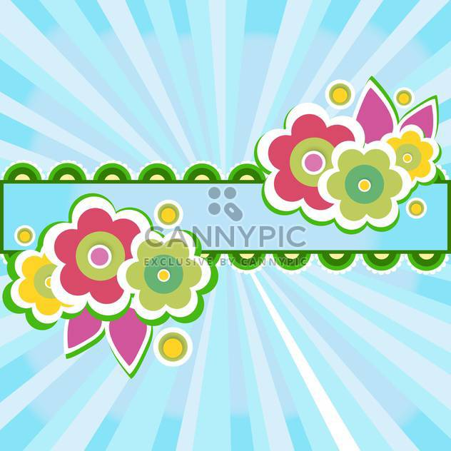 frame with flowers on blue background - Free vector #132817
