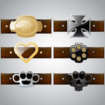 vector set of belt buckles - vector gratuit #132877
