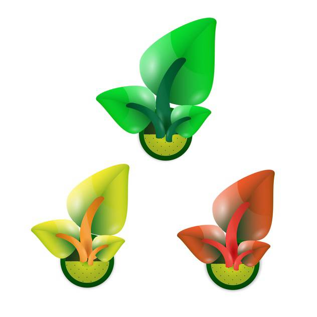 growing sprouts with leaves concept set - vector gratuit #132897