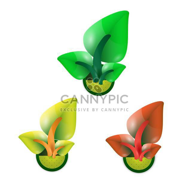 growing sprouts with leaves concept set - Free vector #132897