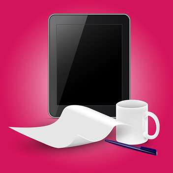 tablet computer with coffee cup - vector gratuit #133017