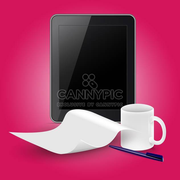 Tablet PC con taza de café - vector #133017 gratis
