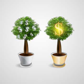 vector money trees illustration - vector #133107 gratis