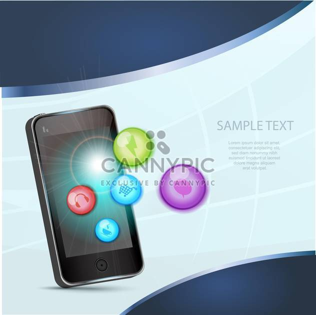 smartphone and social media icons - vector gratuit #133397