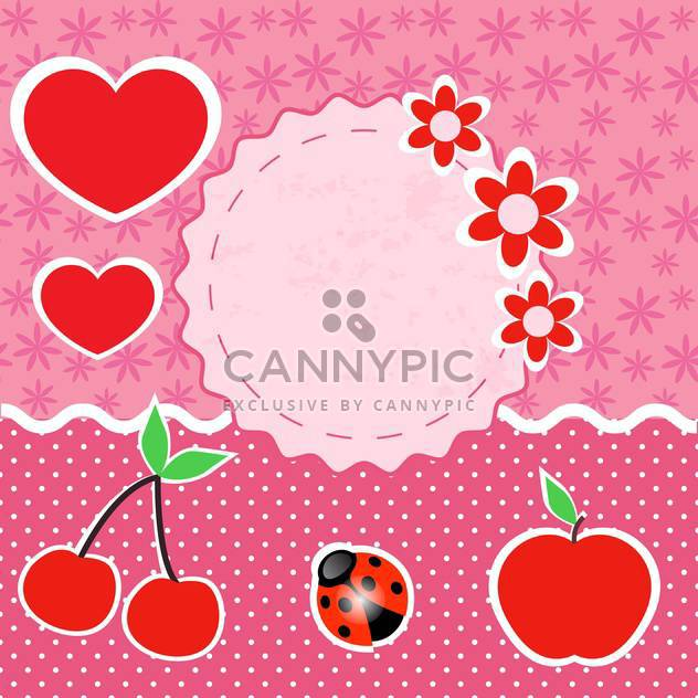 vector set of pink frames with hearts - Free vector #133437