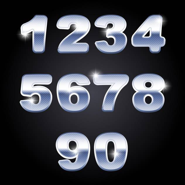 vector chrome numbers set background - vector gratuit #133587