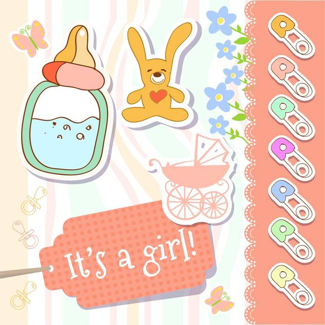 vector baby girl greeting card - Free vector #133727
