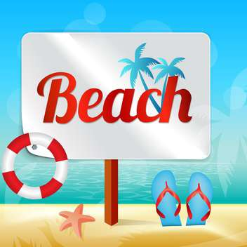 wooden placard on sandy beach - vector gratuit #133927