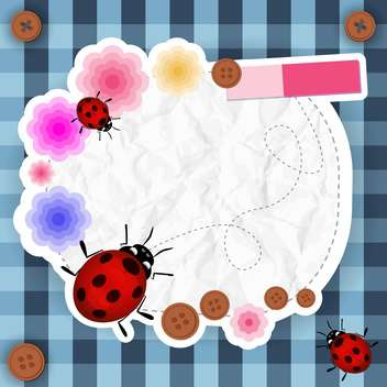 frame with flowers, buttons and ladybug - vector gratuit #133997