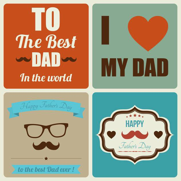 retro happy father's day card - vector gratuit #134047