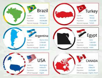 different countries flags set - vector gratuit #134327