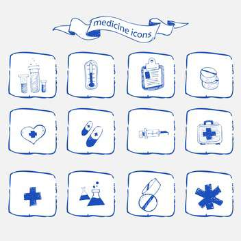 medicine icons sketch set - vector gratuit #134337