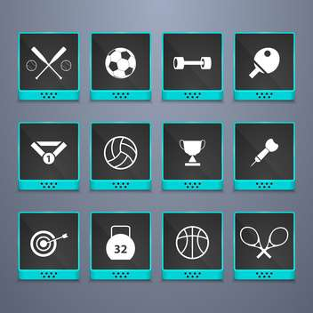 sports web buttons set background - Free vector #134447