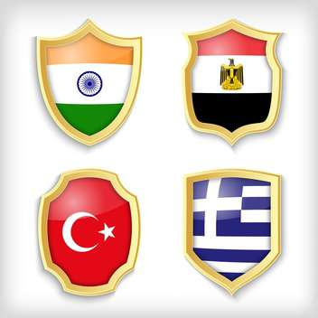 set of shields with different countries stylized flags - Free vector #134517