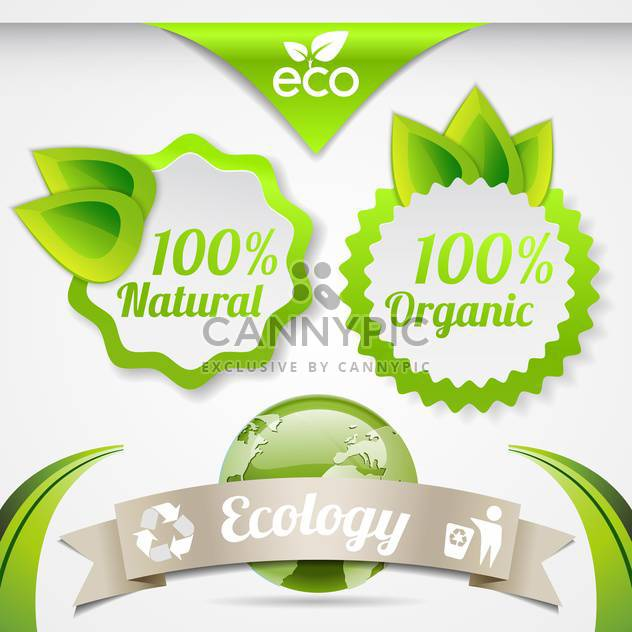 set of eco lifestyle labels - Free vector #134577
