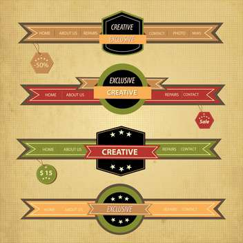 retro decorative tape ribbon set - vector gratuit #134617
