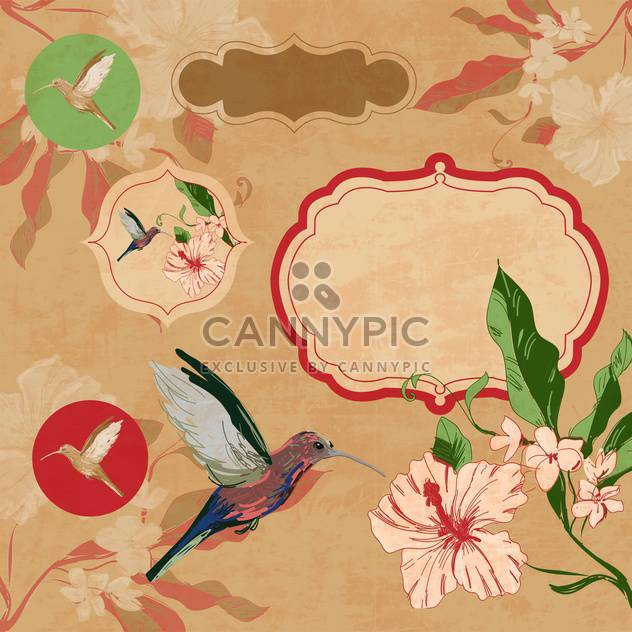 label with bird and flowers - Free vector #134727