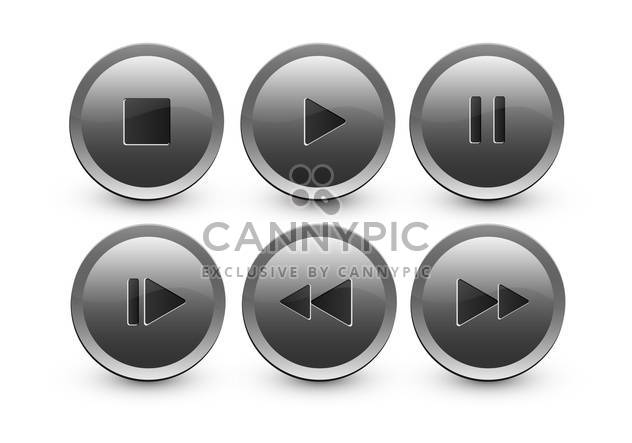 vector set of media buttons - Free vector #134897