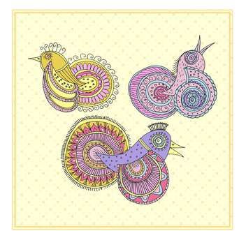 fairy magic birds in ethnic style - vector gratuit #135017