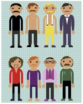 cartoon men icons set illustration - vector gratuit #135037