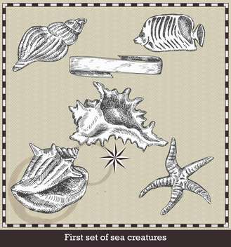 set of sea fish, seashell and starfish in retro style - vector gratuit #135117